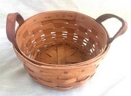 Vintage Small Round Vintage Longaberger Basket w/Leather Handles - 1998 SRP - $8.86