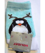 Penguin with Reindeer Antlers Holiday Socks Women's Shoe Size 4 to 10 NEW - $7.69