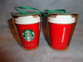 Starbucks 2016 Red Holiday To Go Cup Ornament Ceramic - $16.78