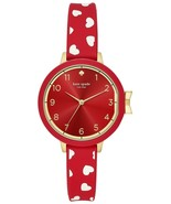 New Kate Spade New York Park Row Scattered Hearts Silicone Watch Red KSW... - $128.65
