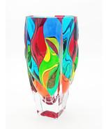 Sunset bohemia crystal vase hand painted Murano style Venice - $225.00