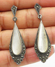 925 Sterling Silver - Vintage Opal & Marcasite Accented Dangle Earrings - E4542 - $26.50