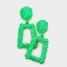 Green Stylish Trapezoid Geometric Trendy Textured Fashion Bling Dangle E... - $19.80