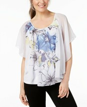 JM Collection WOMEN'S  Printed Poncho Blouse, WHITE MULTI SIZE XXL MSRP$... - $14.85