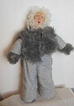 """Father Christmas Old Man Doll 18"""" Gray Suit Handmade Articulated - $24.00"""
