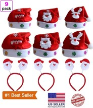 Christmas Hat, 9 Pack Christmas Santa Hats and Funny Headbands for Adult... - €14,97 EUR