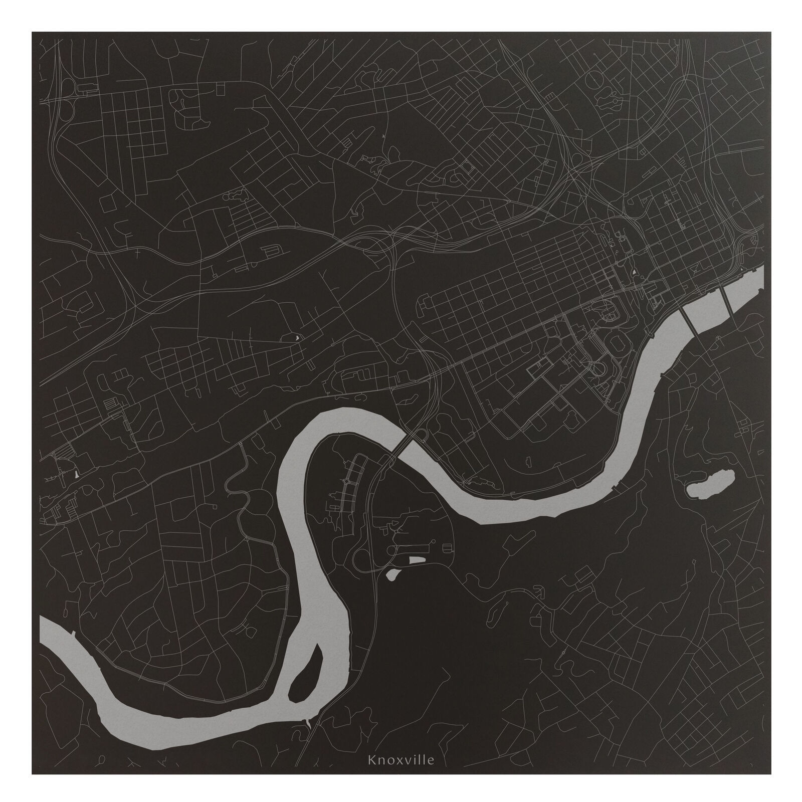 Knoxville Tennessee Laser Engraved Downtown City Map Wall Art Office Decor Gift - $48.37 - $217.68
