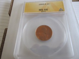 1955-S , Lincoln Penny , MS 66 , RED  , Anacs - $45.00