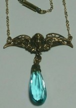 VINTAGE ART NOUVEAU CUPID ANGEL GOLD TONE BLUE CRYSTAL ANTIQUE NECKLACE - $125.00