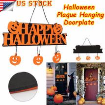 Cute Halloween Pumpkins Wall Doorplate Plaque Hanging Sign Haunted House... - $6.18
