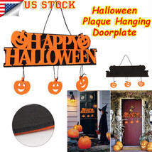 Cute Halloween Pumpkins Wall Doorplate Plaque Hanging Sign Haunted House... - £4.68 GBP
