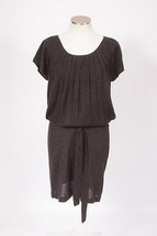 ANN TAYLOR LOFT Gray Pleated Knit Wool Blend Belt Sweater Tunic Top Mini... - $29.69