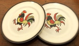 Red Rooster Metlox 2 Dinner Plates Brown Band Poppytrail Vernon 56596 - $34.76