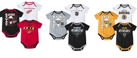 NHL Infant Boy's 3-Point Spread Bodysuit Set of 3 Hockey Baby Creeper Licensed