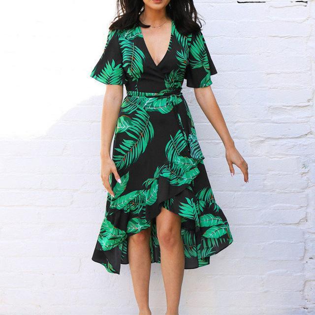 Summer Floral Print Chiffon Beach Long Dress Women Sexy Deep V Neck Party Dress