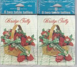 Bridge Tallies Strawberries Basket 2 Pack 8 Two Tables American Greetings Tally - $11.87