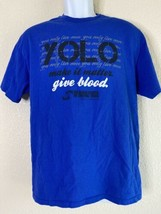 Delta Men Size L Blue Yolo Give Blood T Shirt Short Sleeve  - $13.86