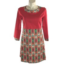 Almatrichi Madrid Spain Dress Red Southwest Print Long Sl Cotton Empire ... - $29.02