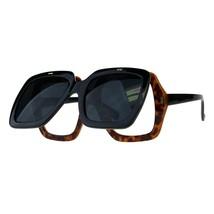 Super Oversized Flip Up Sunglasses Vintage Thick Square Frame Clear Lens - £11.44 GBP