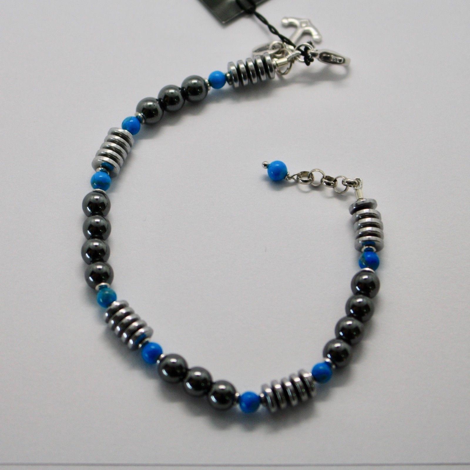 Bracelet en Argent 925 avec Turquoise Ed Hématite BLE-2 Fabriqué en Italie By