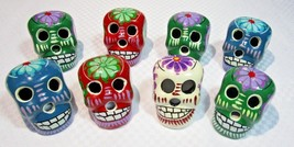 Ceramic Day of the Dead Painted Skulls Pack of 8 - $203,92 MXN