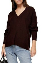 TOPSHOP Ribbed Sweater 12 Burgundy NEW - $26.71