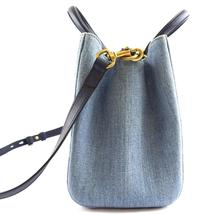 #31642 Gucci Marmont Gg Embroidered Matelasse Logo Tote Blue Denim Shoulder Bag image 8
