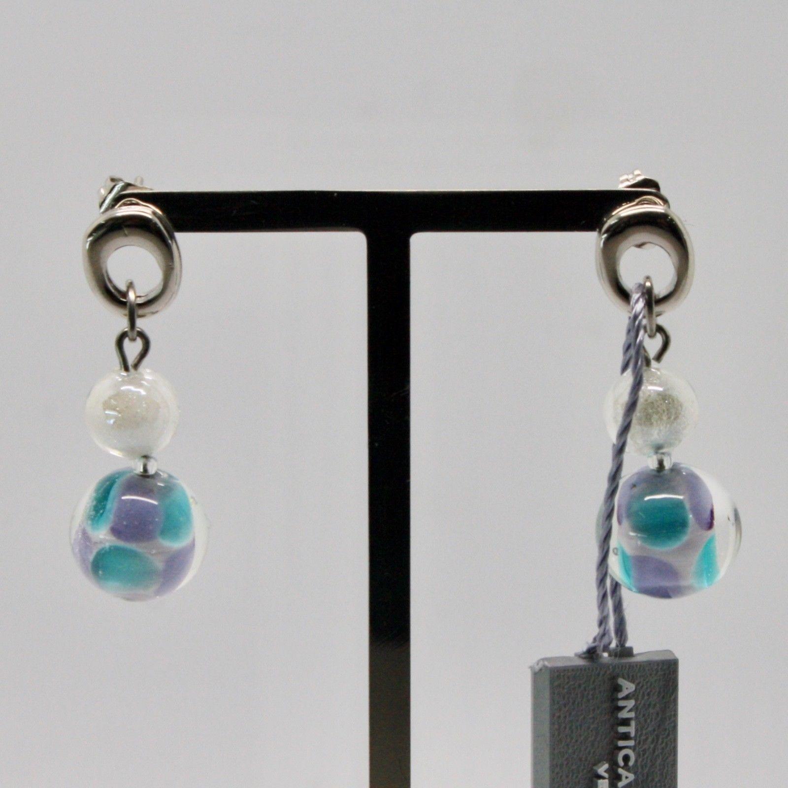 EARRINGS ANTICA MURRINA VENEZIA WITH MURANO GLASS BLUE GREY PURPLE OR588A07