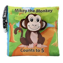 Tinzy Toys Mikey The Monkey Counts to 5 - Cute Monkey Baby Book - Cloth Baby Boo