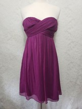 J. CREW Womens Strapless dress 6 Magenta purple 100% Silk back zip shel... - $19.51
