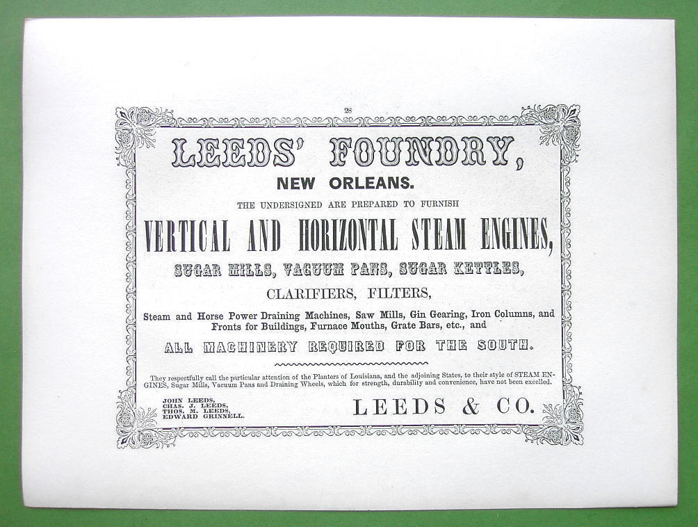 1853 AD Leeds Foundry New Orleans & BARTLETT Sabbath day Point Lake George