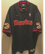 1988 Atlanta Hawks NBA Nike 90s Vintage Black Snap Button Shooting Warmu... - $69.29