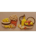 Pair 2 Vintage Homco Wall Hangings Daisies Lemons Pears Syroco 1981 Styl... - $15.83