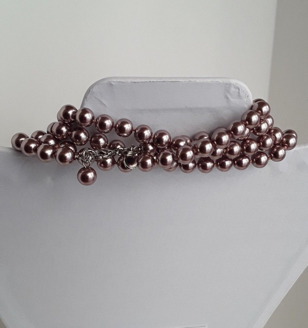 """COOKIE LEE Rose Gold Tone Faux Pearls Single Strand 76"""" Long Necklace EUC image 5"""