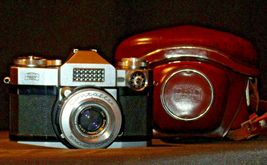 Zeiss Ikon Contaflex Super Camera with hard leather Case AA-192011 Vintage image 5