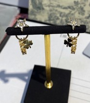 AUTH Christian Dior 2019 CLOVER CRYSTAL STAR HOOP DANGLE GOLD Earrings  image 5