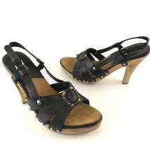 Michael Kors Wooden Heel Shoes Black Leather Sl... - $29.70