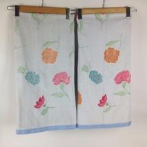 "VTG Set 2 Pair 48"" Bath Towels Diane Von Furstenberg Floral Pastel 80s D... - $13.78"