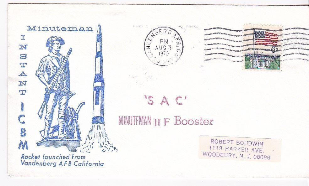 SAC MINUTEMAN II F BOOSTER ROCKET LAUNCHED VANDENBERG AFB CA AUGUST 3 1970