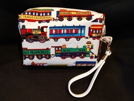 Clutch Bag/Wristlet/Makeup Bag - Trains, locomotive