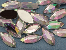 20x9mm Crystal Clear AB A01 Flat Back Navette Acrylic Gems - 25 Pieces - $6.59