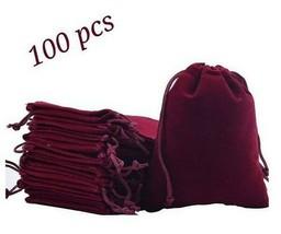 Wine Velvet Gift Bag x100 Red Drawstring Favor Bags Jewelry Wedding Gift... - $77.39