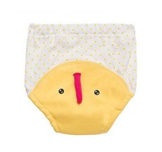 2 Pieces Of Baby Cloth Diapers Training Pants Wave Point Pattern,YELLOW