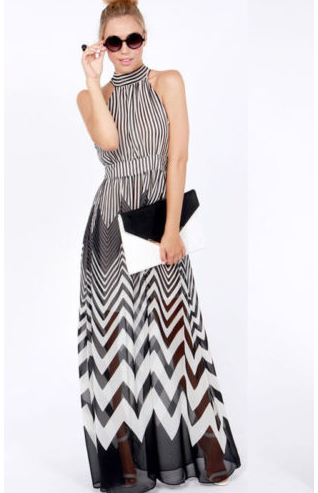 Casual Stripe Boho Long Halter Neck Chiffon Beach Dress