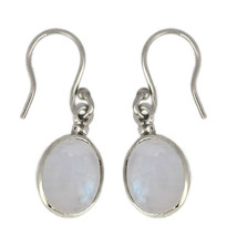 Natural rainbow moonstone single stone sterling silver white rhodium ear... - $10.04