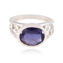 Lucky Gemstone  Oval Faceted Amethyst ring - Sterling Silver Purple Amet... - $14.99