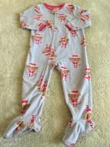 Child Of Mine Girls Blue Pink Monkey Santa Fleece Long Sleeve Pajamas 2T  - $5.48