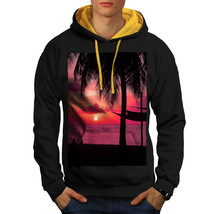 Romantic Sunset Sweatshirt Hoody Beach Palm Tree Men Contrast Hoodie - $23.99+