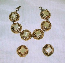 Vintage Bracelet & Clip On Earrings Goldtone with Pearlized Center - $17.63