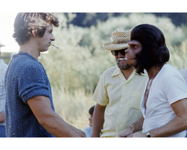 Roddy McDowall and James Naughton in Planet of the Apes on set smoking cigare - $69.99